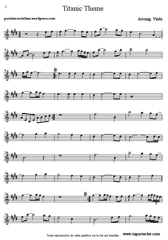 partitura da musica titanic para violino