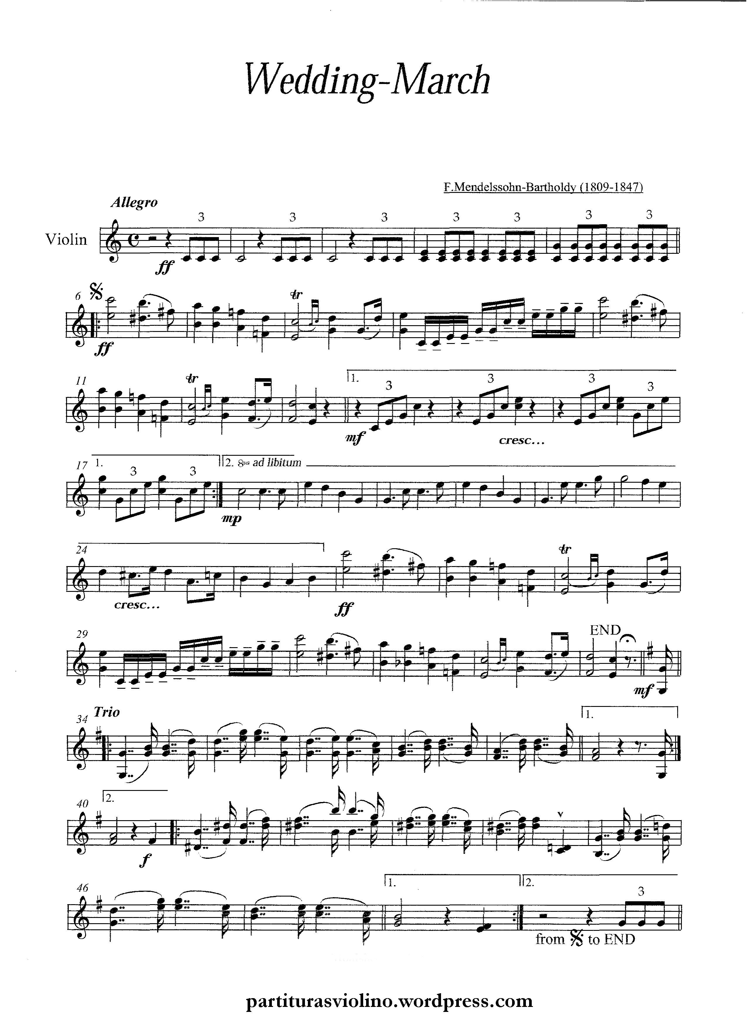 partitura marcha nupcial violino